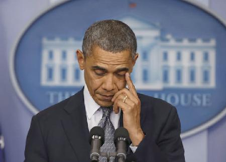 obama (emotional during shooting statement)