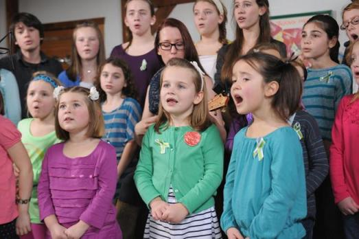 Students from Newtown performing Somewhere Over the Rainbow at the home of Chris Frantz and Tina Weymouth in Fairfield, Connecticut.