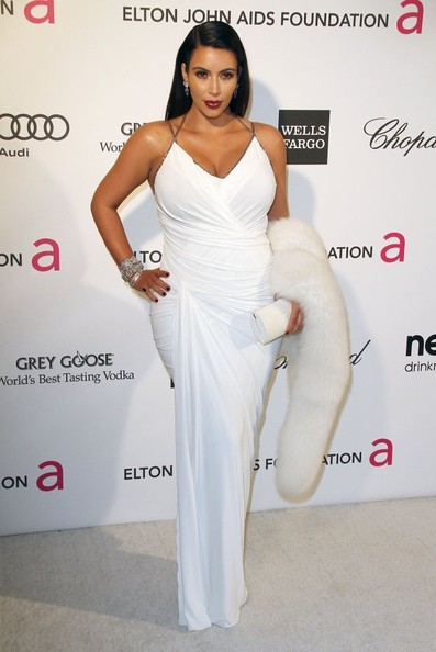 Kim Kardashian attends the 2013 Elton John AIDS Foundation Academy Awards Viewing Party held at The Pacific Design Center in Los Angeles, CA on February 24, 2013