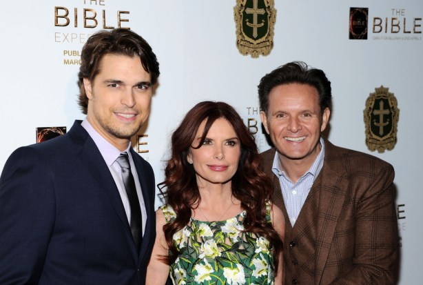 "L-R) Actors Diogo Morgado, Roma Downey and executive producer Mark Burnett attend ""The Bible Experience"" Opening Night Gala at The Bible Experience on March 19, 2013 in New York City."
