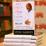 "A copy of ""Act Like a Lady, Think Like a Man"" is displayed during a signing by comedian Steve Harvey at Borders Penn Plaza on January 26, 2009 in New York City."
