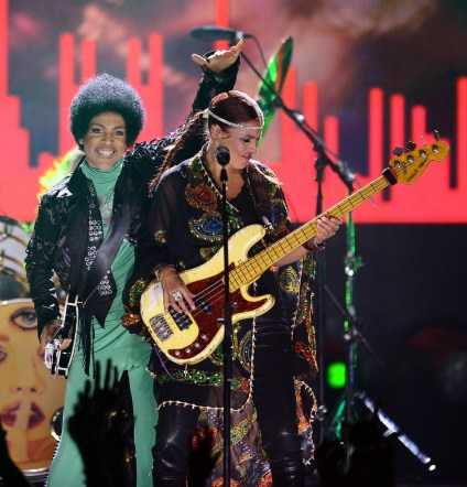 Musician Prince and Bass Player Ida Nielson of 3rd Eye Girl perform onstage during the 2013 Billboard Music Awards at the MGM Grand Garden Arena on May 19, 2013 in Las Vegas, Nevada