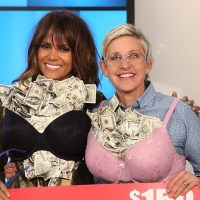 Halle Berry, Ellen DeGeneres Stuff Their Bras with Cash (Watch)