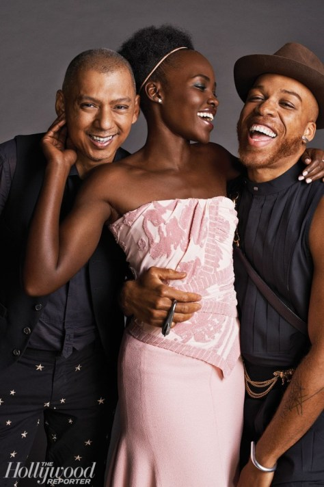Lupita Nyong'o was photographed with makeup artist Nick Barose (left) and hairstylist Vernon Francois on Oct. 28 at The Bowery Hotel in New York City.