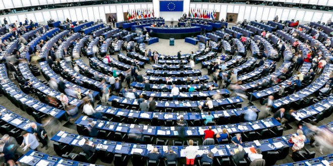 Stockshots of the hemicycle of the EP in Strasbourg