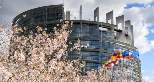 General view of EP building in Strasbourg - LOW building at spring with flowers
