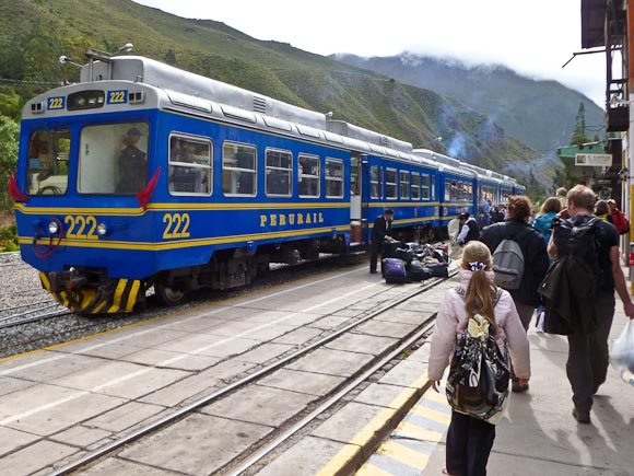 travel to machu picchu - boarding the perurail train at Ollantaytambo