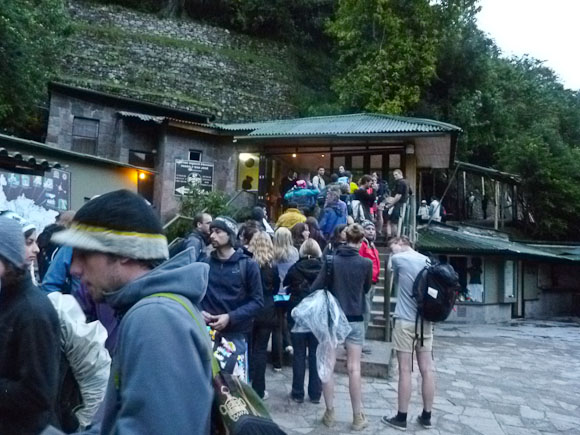 travel to machu picchu - waiting in line for the park to open