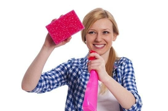 Girl Cleaning Lady sponge spray cleaner vinegar