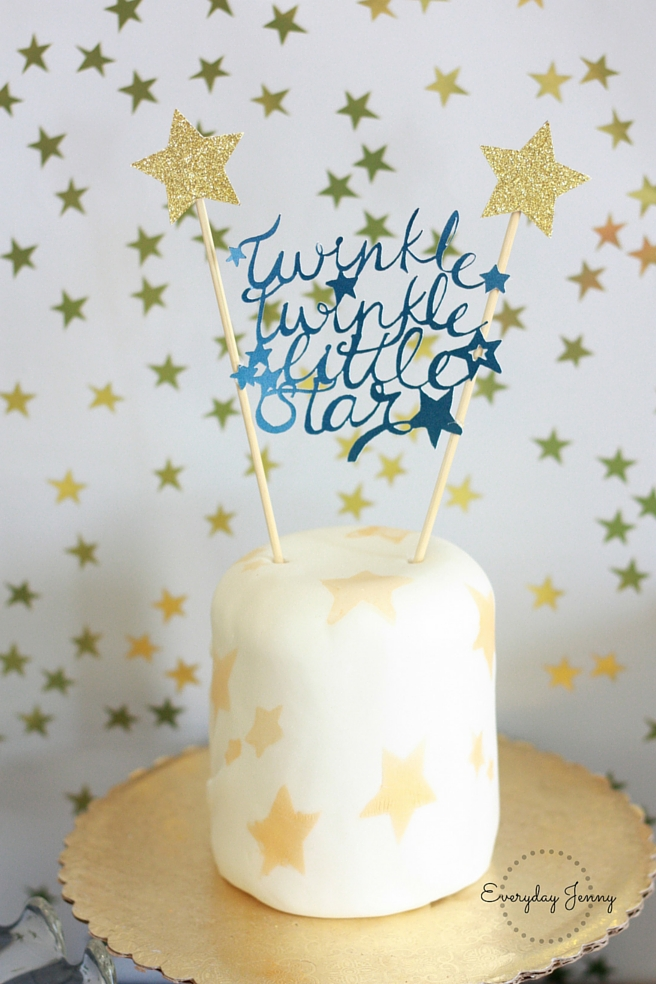 Navy and Gold Twinkle Twinkle Little Star First Birthday Party Cake