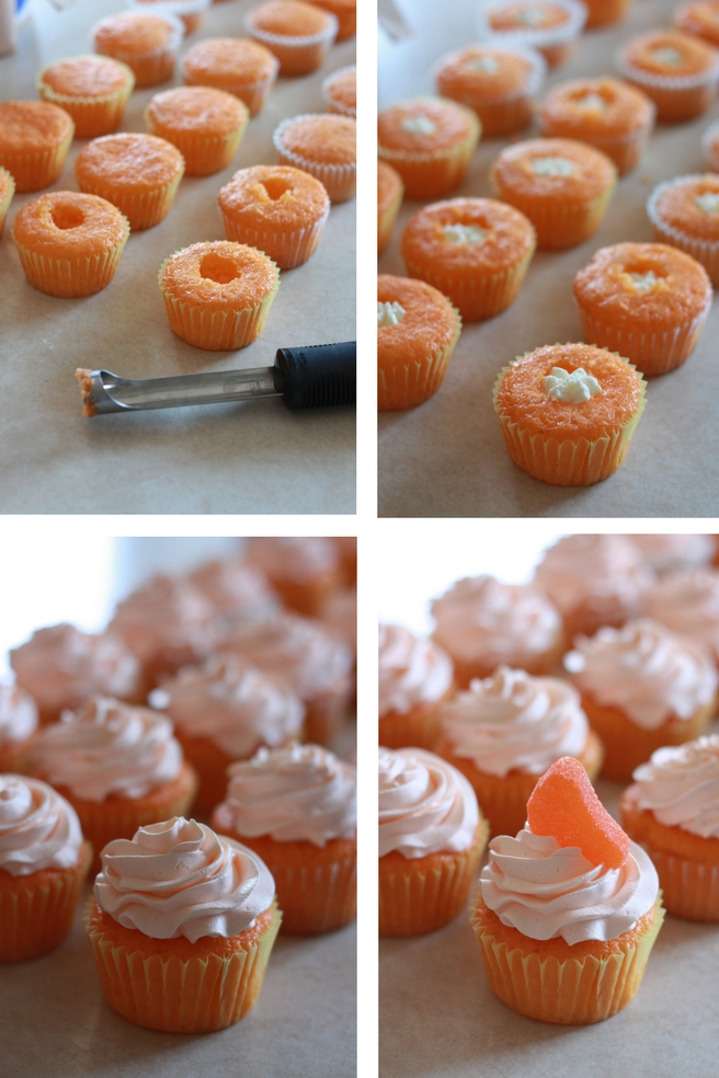 Super easy orange soda creamsicle cupcake recipe. Cool whip frosting and a cake mix base, these are always a hit at parties. Recipe at everydayjenny.com