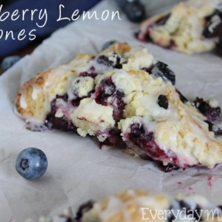 Fresh plump blueberries and lemon zest come together to make the tastiest scone! You'll want these Blueberry Lemon Scones for breakfast all the time! | EverydayMadeFresh.com | EverydayMadeFresh.com