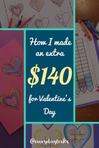 How I made an Extra $140 for Valentine's Day - by selling symmetry heart art projects, graphing paper, and story problems in my TeachersPayTeachers store called Pedersen Post.