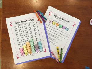 Valentine Candy Heart Graphing Pages with Common Core Questions