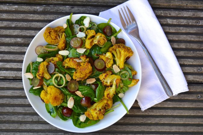 Curried Cauliflower, Almond, Grape & Spinach Salad