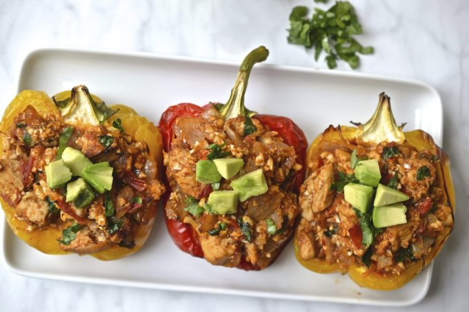 Mexican Cauliflower Rice & Chicken Stuffed Peppers | Every Last Bite