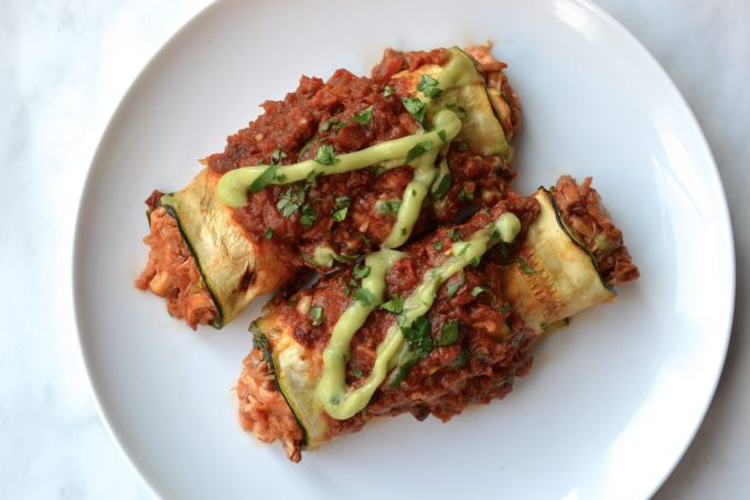 Zucchini Wrapped Chicken Enchiladas