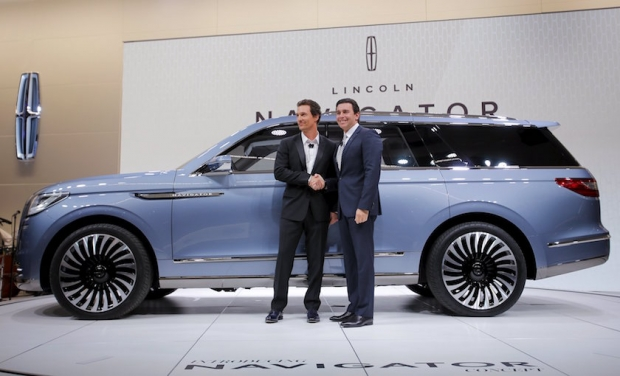 Matthew McConaughey Supports Lincoln at NYC Auto Show