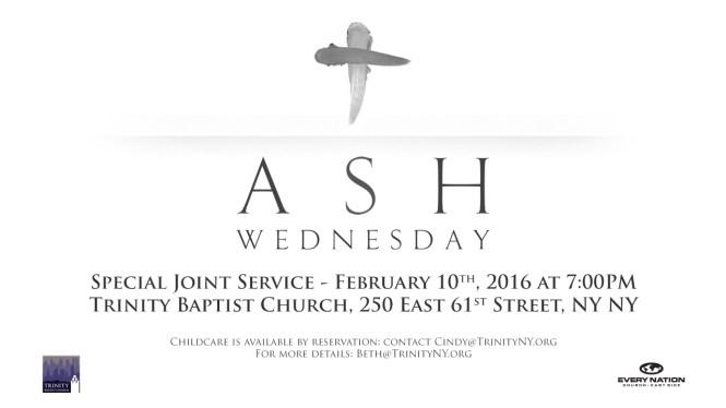 Ash Wednesday service 2016