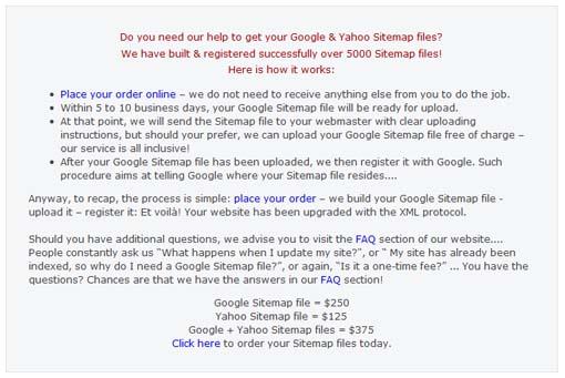 Google sitemap scam.