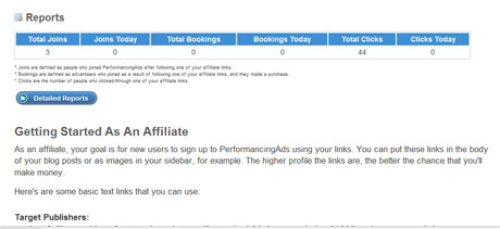 Access to affiliate information when logged in.