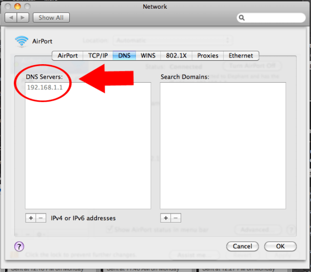 The Advanced Network Settings menu's DNS tab; clcik for full-size image.
