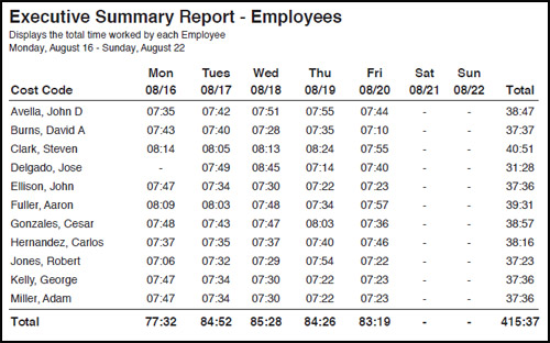 Reports - Executive Summary - Employees