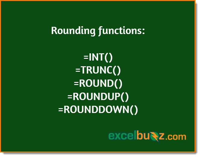 Different functions for rounding in Excel