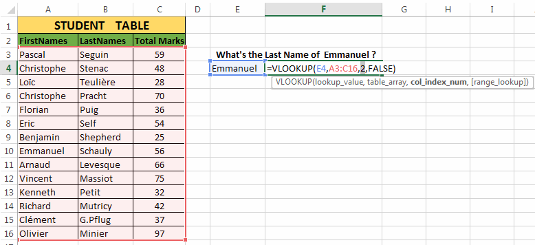 V-look-up in Excel Example-2