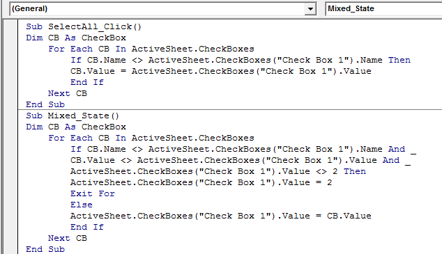 Add the Mixed State Macro in VBA