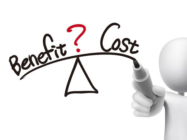 33978829 - balance between benefit and cost written by 3d man over transparent board