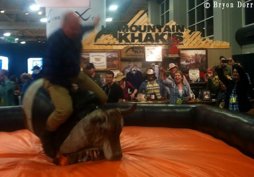 Happy hours each day at the show can get rowdy. Mountain Khakis was in the running for most fun for sure with thier mechanical bull.