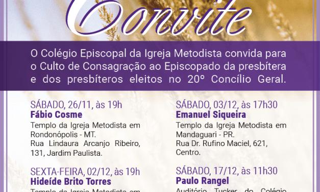 Igreja Metodista divulga datas para consagração de novos/a bispos/a