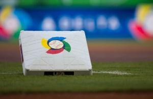 MIAMI, FL - MARCH 15:  A detail shot of a base is seen on field before Pool 2, Game 4 between Team Puerto Rico and Team USA in the second round of the 2013 World Baseball Classic on Friday, March 15, 2013 at Marlins Park in Miami, Florida. (Photo by Tom DiPace/WBCI/MLB Photos via Getty Images) *** Local Caption ***
