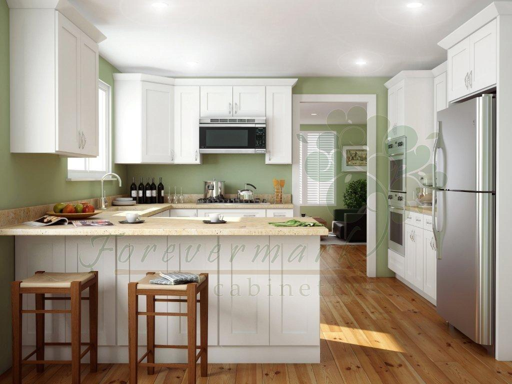 icewhite shaker kitchen cabinets White Shaker RTA Cabinets with dovetail drawers soft close drawer glides