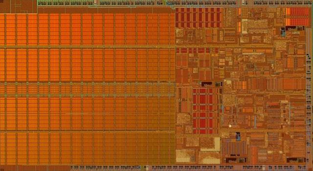 The beautiful Pentium M die, with lots and lots of cache
