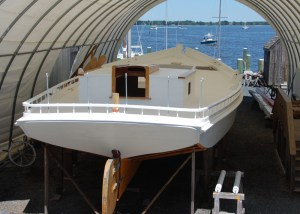 The skipjack Rosie Parks, shown here during her three-year restoration, will be re-launched at the Chesapeake Bay Maritime Museum in St. Michaels during the November 2 OysterFest. The launch is scheduled to take place at CBMM's marine railway at 4pm.