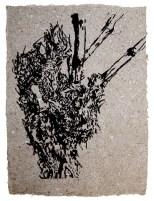 Rebstock 03 ca 60 x 45 cm - Tusche auf afrikanischem handmade Paper, grau 2016