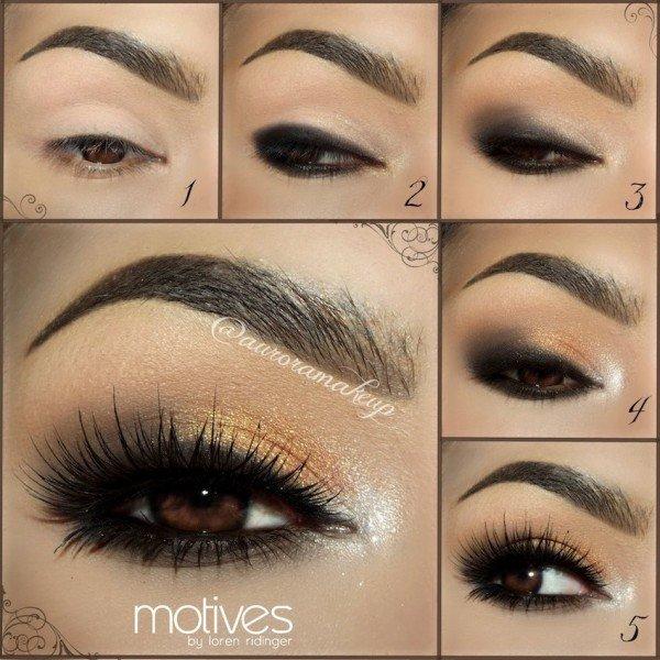 DIY Stunning Shimmery Gold Smokey Eye Makeup Tutorials