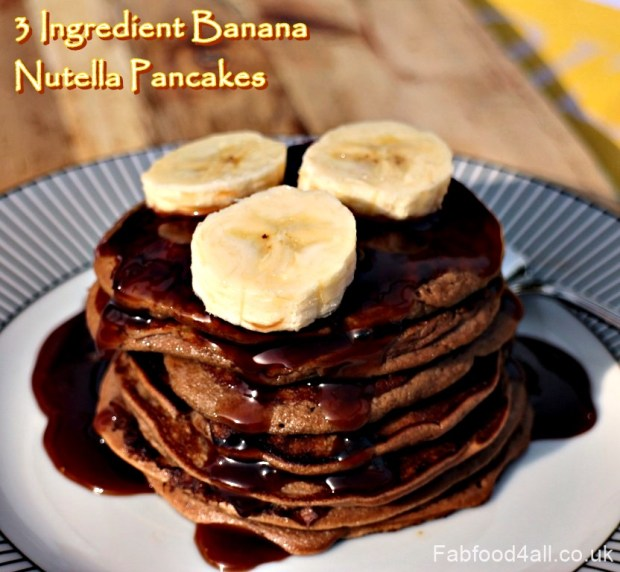 3 Ingredient Banana Nutella Pancakes, wheat free, gluten free, dairy free, allergies, weaning, toddlers, healthy, low fat, brain food, potassium, fiber