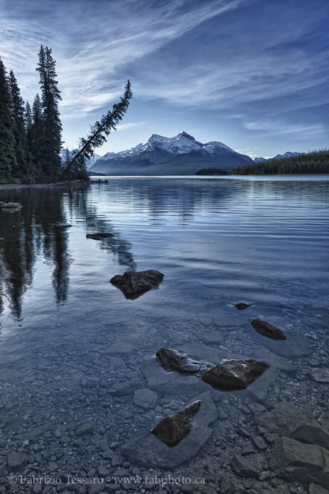 MALIGNE LAKE in November, Jasper National Park, Alberta, Canada