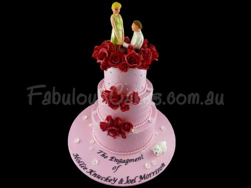 Red Roses Engagment Cake