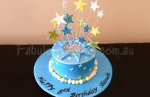 Blue Birthday Cake with Stars