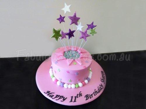 star-pink-birthday-cake