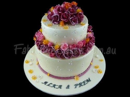 Wedding Cake with Edible Sugar Roses