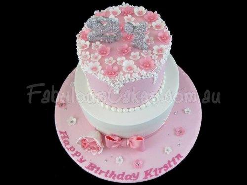 21st Girly Birthday Cake