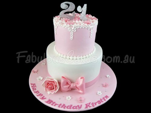 21st Girly Birthday Cake