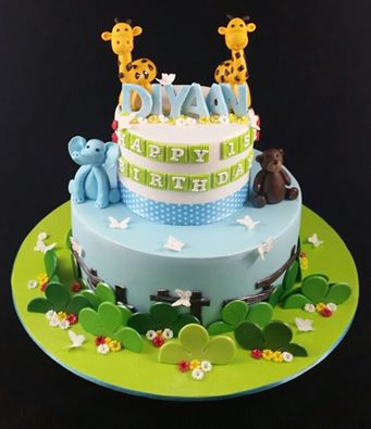 Original designer Paige Fong. Animals theme cake