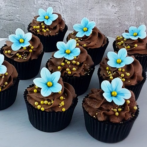 Chocolate Cupcakes with Blue Flowers