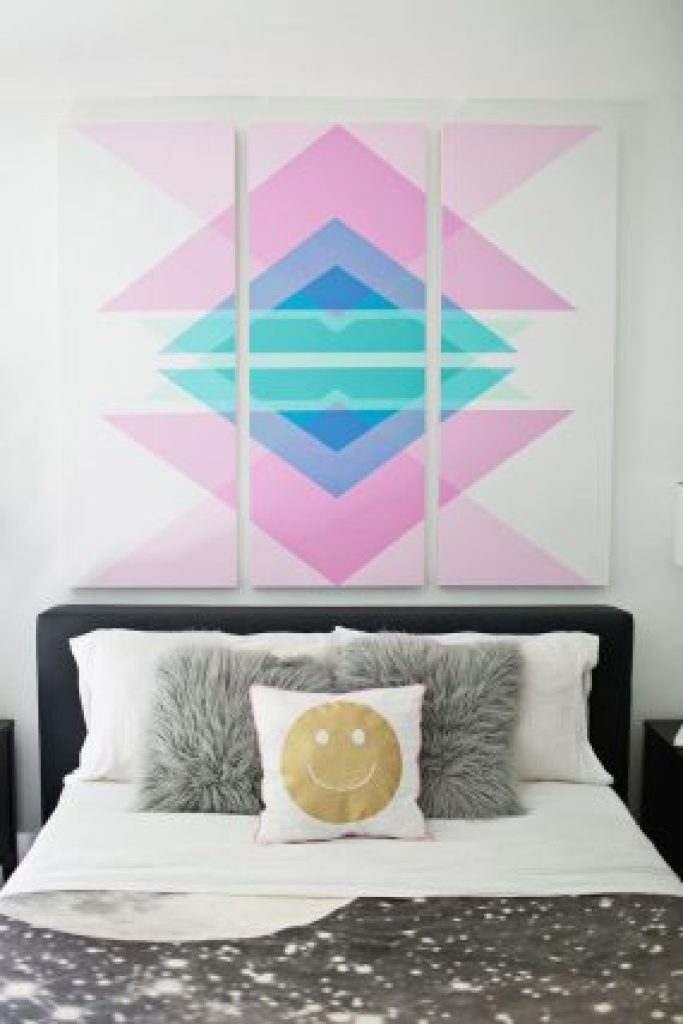DIY Wall Art Geometric Art above Headboard in Bedroom with Black Bedding and Gray Throw Pillows